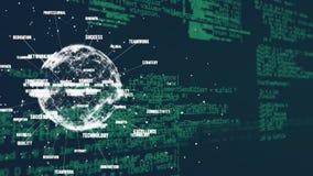 Płodozmienna kula ziemska z etykietkami i komputerowymi kodami ilustracji