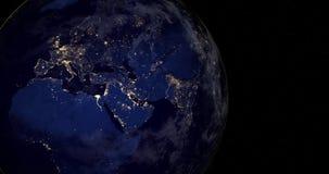 Płodozmienna ziemia w przestrzeni Nocy miasta światła ilustracji