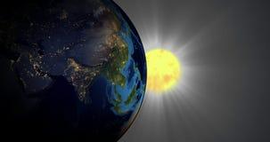Płodozmienna ziemia w przestrzeni Wschodu słońca i nocy miasta światła ilustracja wektor