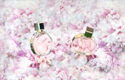Płodozmienne pachnidło butelki na menchiach kwitną peoni tło z kopii przestrzenią Mydlarnia, kosmetyki, żeńscy akcesoria obrazy stock