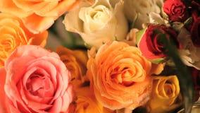 Płodozmiennego multicolor róża bukieta odgórny widok zbiory wideo