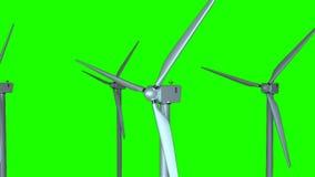 Płodozmienni wiatraczki w przestrzeni, 3d odpłacają się tło, komputerowy wytwarzać dla ekologia projekta ilustracja wektor