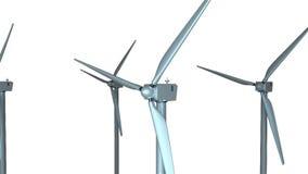 Płodozmienni wiatraczki w przestrzeni, 3d odpłacają się tło, komputerowy wytwarzać dla ekologia projekta ilustracji
