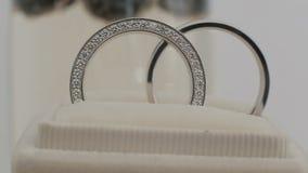 Płodozmienny skład dwa olśniewającej obrączki ślubnej Zamyka w górę makro- zbiory