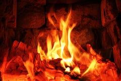 Płomień na płonącym drewnianym tle Fotografia Royalty Free