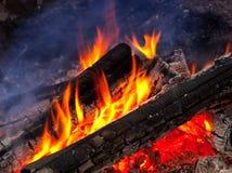 Płomień płonący drewna Zdjęcia Royalty Free