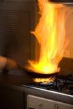 płomień smażący Fotografia Stock