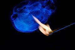 Płomień Zapałczany kij Z dymem Obrazy Stock