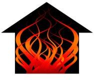 płomienia pożarniczy dom Fotografia Royalty Free