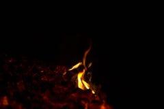 Płomienie od węgli Zdjęcia Stock