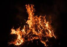 Płomienie ognisko przy nocą Obraz Royalty Free