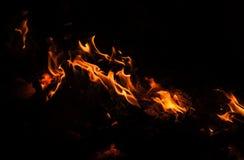 Płomienie ognisko przy nocą Zdjęcia Royalty Free