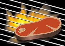 Płomienie piec na grillu stek na BBQ royalty ilustracja