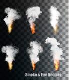 Płomienie z dymnymi wektorowymi ikonami royalty ilustracja