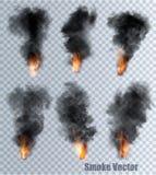 Płomienie z dymnymi wektorowymi ikonami wektor ilustracji