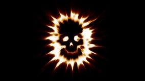 Płomienna straszna czaszka ogarniająca w płomieniach ilustracja wektor