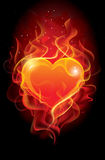 płomienny serce Obraz Royalty Free