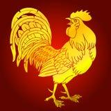 Płomienny złocisty kogut na czerwonym tle Obrazy Royalty Free