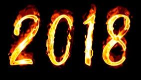 2018 płomiennych liczb na czerni obrazy royalty free