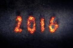 Płonąć 2016 nowy rok powitanie lub tło Zdjęcia Stock