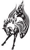Płonąć Pegasus końskiego plemiennego tatuaż Fotografia Royalty Free