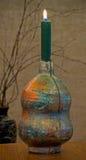 Płonąca świeczka w dekoracyjnym candlestick Obraz Stock