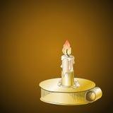 Płonąca świeczka w kruszcowym candlestick ilustracja wektor