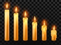 płonąca candle Pali kościelne świeczki, wosku ogienia i xmas wektoru świeczka odizolowywających realistycznych przedmioty ustawia ilustracji