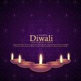 Płonąca diya ilustracja dla diwali festiwalu świętowania Obraz Royalty Free
