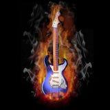 płonąca gitara elektryczna Obraz Royalty Free