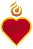 płonąca ikona serca Fotografia Royalty Free