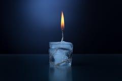 Płonąca kostka lodu Fotografia Stock