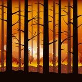 Płonąca pożar lasu katastrofa naturalna ilustracja wektor