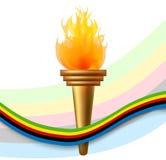 Płonąca pochodnia z olimpijską flaga ilustracji