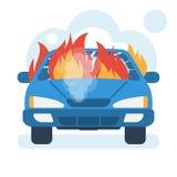 Płonąca samochodowa ikona Samochód na ogieniu ilustracji
