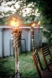 Płonąca tik pochodnia w podwórku Obraz Stock
