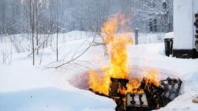 Płonące rzeczy w naturze w zimie klamerka Kontrolowany ogień w lesie w zimie fotografia stock