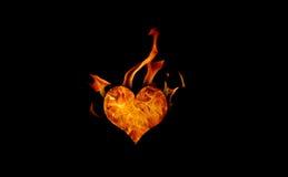 płonące serce Obrazy Royalty Free