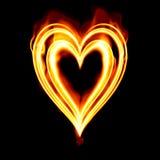 płonące serce valentines pożarowym Obrazy Royalty Free