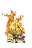 płonącego domu odosobniony biel obraz stock