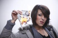 płonącego pieniądze seksowna kobieta Zdjęcia Royalty Free