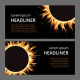 Płonącego pożarniczego ogniska gorący płomień muska realistyczny horyzontalny sztandar ustawiającą odizolowywającą wektorową ilus Zdjęcia Stock