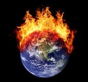 Płonącej ziemskiej kuli ziemskiej zachodni hemisfera Zdjęcie Stock