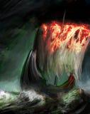 płonący żagiel royalty ilustracja