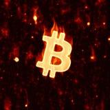 Płonący bitcoin znak Fotografia Stock