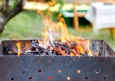 Płonący brązownik dla shish kebabu Obraz Stock