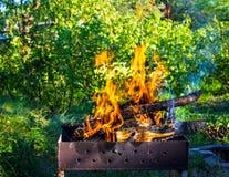 płonący brązownika drewno Silny ogień w grillu Obrazy Royalty Free