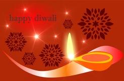 Płonący diya na szczęśliwym Diwali Wakacyjnym tle dla lekkiego festiwalu India Diwali, kreatywnie royalty ilustracja