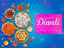 Płonący diya z asortowanym cukierki i przekąską na Szczęśliwym Diwali Wakacyjnym tle dla lekkiego festiwalu India ilustracji
