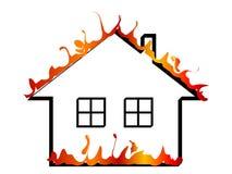 płonący dom ilustracji